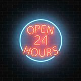 Neon open 24 hours sign on a brick wall background. Round the clock working bar or night club signboard with lettering. Vector illustration royalty free illustration
