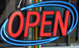 Neon open sign Stock Photography
