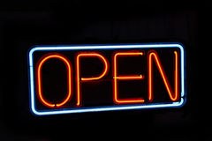 Neon open sign against black Royalty Free Stock Photos