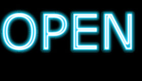 Neon open sign. A bight blue Neon sign which says open sign in blue with fluorescent light royalty free stock photos