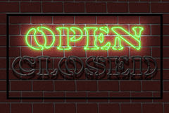 Neon OPEN sign. Illustration of a neon OPEN sign against a dark brick wall Royalty Free Stock Photo
