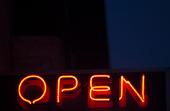 Neon open sign at night Stock Photo