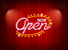 Free Neon Open Sign On Curtain Stock Photography - 86678562