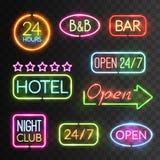 Neon Open Sign Set Stock Image