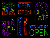 Neon Open Signs Stock Image