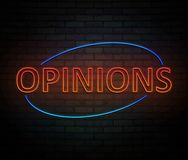 Neon opinions concept. Stock Photos