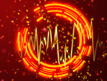 Neon orang circles background. And orang light wave Stock Photography