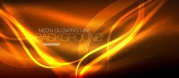Neon orange elegant smooth wave lines digital abstract background. Neon elegant smooth wave lines vector digital abstract background royalty free illustration