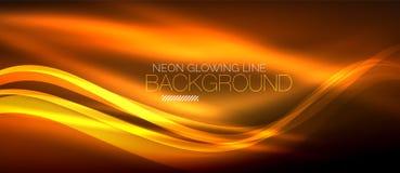 Neon orange elegant smooth wave lines digital abstract background. Neon elegant smooth wave lines vector digital abstract background Vector Illustration