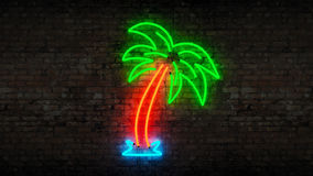 Neon palm tree vector illustration