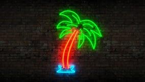 Neon palm tree Stock Image