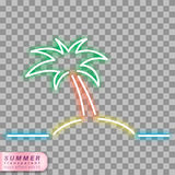 Neon palm tree symbol. Palm tree on the sea neon effect shape on transparent background Royalty Free Stock Images