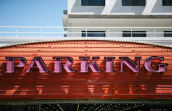 Neon parking sign. Bright neon advertises parking near a casino in downtown Las Vegas Stock Image