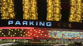 Neon Parking Sign Marquee Loop. Neon parking sign with chasing lights loop stock video footage