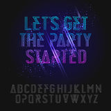 Neon party alphabet Royalty Free Stock Photo