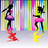 Neon Party Background. A background illustration with two party girls for use with neon/rave club advertising Royalty Free Stock Photos