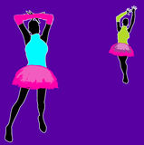 Neon Party Background. A background illustration with party girls for use with neon/rave club advertising Stock Images