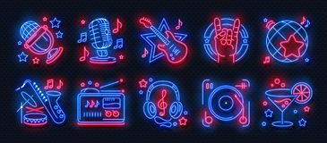 Free Neon Party Icons. Dance Music Karaoke Light Signs, Glowing Concert Banner, Rock Bar Disco Poster. Vector Retro Night Royalty Free Stock Image - 140885836