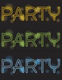 Neon party. Shiny text design, illustration stock illustration