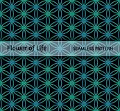 Sacred geometry, seamless pattern `Flower of life`. Neon pattern on a dark background for your design vector illustration
