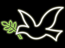 Neon peace dove stock illustration