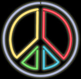 Neon peace sign Royalty Free Stock Image