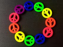 Neon peace signs Royalty Free Stock Photos