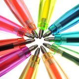 Neon pens of various colours. Over white Stock Photo