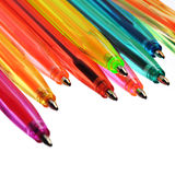 Neon pens of various colours. Over white Royalty Free Stock Photography