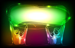 Neon people holding banner, screen Neon collection Stock Photography