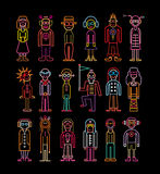 Neon People Icon Set Stock Photo