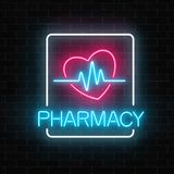 Neon pharmacy glowing signboard with heart shape and pulse graph on brick wall background. Illuminated drugstore sign open 24 hours. Vector illustration Stock Images