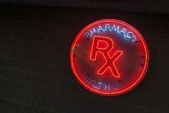 Neon pharmacy sign_1 Royalty Free Stock Image