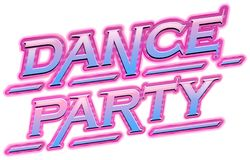 Neon Pink dance party text. Illustration vector illustration