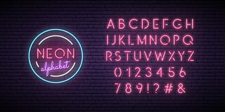 Neon pink font. English alphabet and numbers sign. royalty free illustration