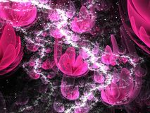 Neon pink fractal flowers. Digital artwork for creative graphic design Royalty Free Stock Photos