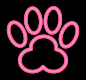 Neon Pink Paw Print Royalty Free Stock Images