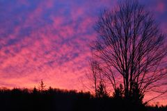 Neon pink sunset. Neon pink blue Maine winter sunset sky colorful vivid sky light nature clouds spectacular pattern bright dusk glow beauty scenic Royalty Free Stock Images