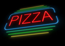 Neon pizza sign. Royalty Free Stock Image