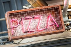 Neon pizza sign royalty free stock photography