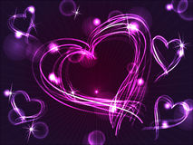 Neon or plasma purple hearts. Beautiful and fun hand drawn purple plasma or neon hearts intersecting with different light effects, perfect for Valentine's day or Royalty Free Stock Images