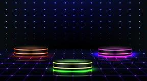 Neon podium. Empty stage in nightclub, dance floor