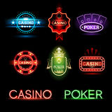Neon poker and casino emblems. In vector vector illustration