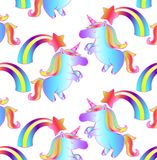 Fairytale pattern - a unicorn and a rainbow Royalty Free Stock Images