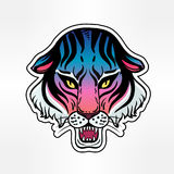 Neon pop wild Cat design - angry tiger face. Classic flash tattoo style patch or element. Traditional stickers, comic pins. Pop art items. Vector collection Royalty Free Stock Photos