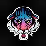 Neon pop wild Cat design - angry tiger face. Classic flash tattoo style patch or element. Traditional stickers, comic pins. Pop art items. Vector collection Stock Photography