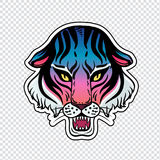 Neon pop wild Cat design - angry tiger face. Classic flash tattoo style patch or element. Traditional stickers, comic pins. Pop art items. Vector collection Royalty Free Stock Image