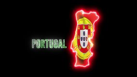 Neon Portugal map with neon shiny glowing text PORTUGAL. and Portugese flag royalty free illustration