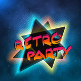 1980 Neon Poster Retro Disco 80s Background made in Tron style  Stock Images