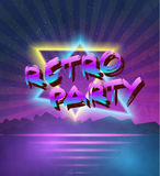 1980 Neon Poster Retro Disco 80s Background made in Tron style w Royalty Free Stock Photography